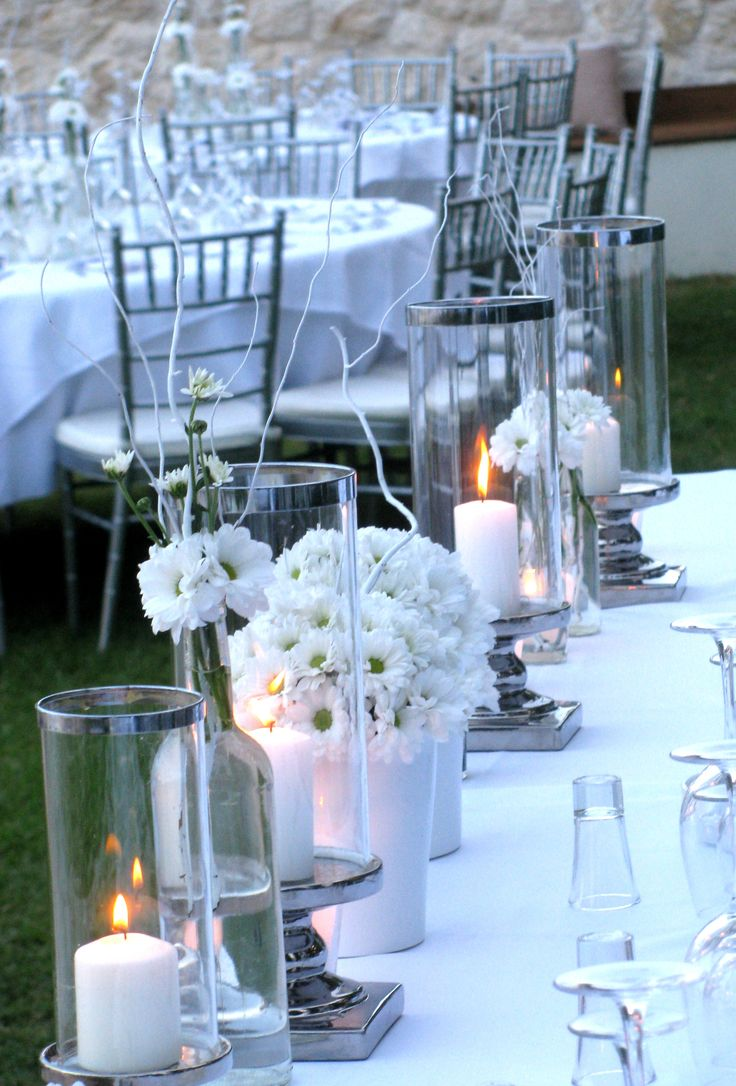 wedding decoration with silver lanterns