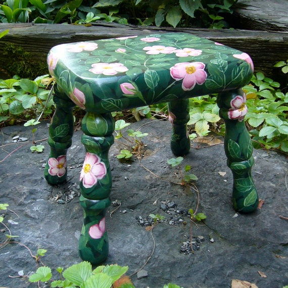 Hand Painted Foot stool with Wild Roses by mfeganart on Etsy, $115.00