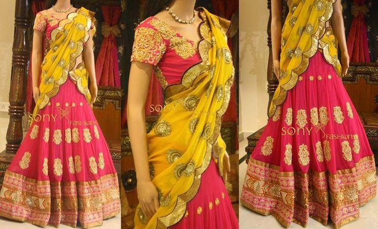Pin Mustard Half Saree   Saree Blouse Patterns