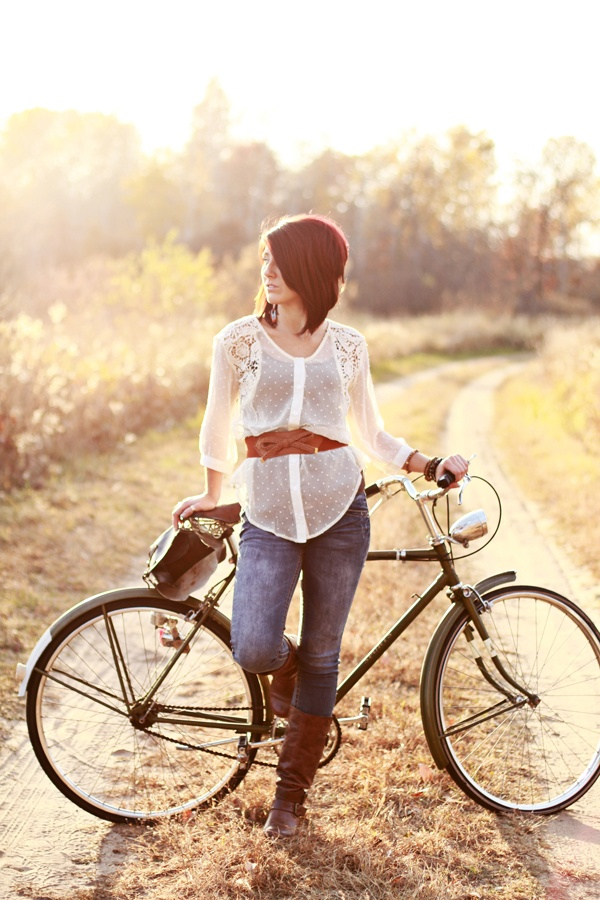 bike. pose. light. location. wardrobe.  It is all working.    Kate Wenzel Photography