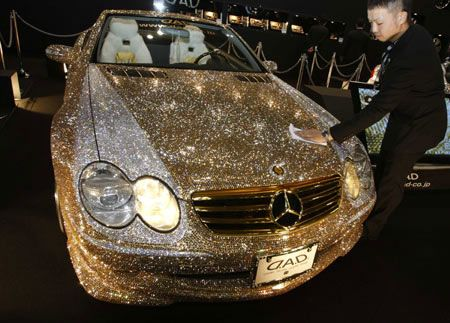 Wow how cool would this be to rent for an evening! swarovski covered mercedes!
