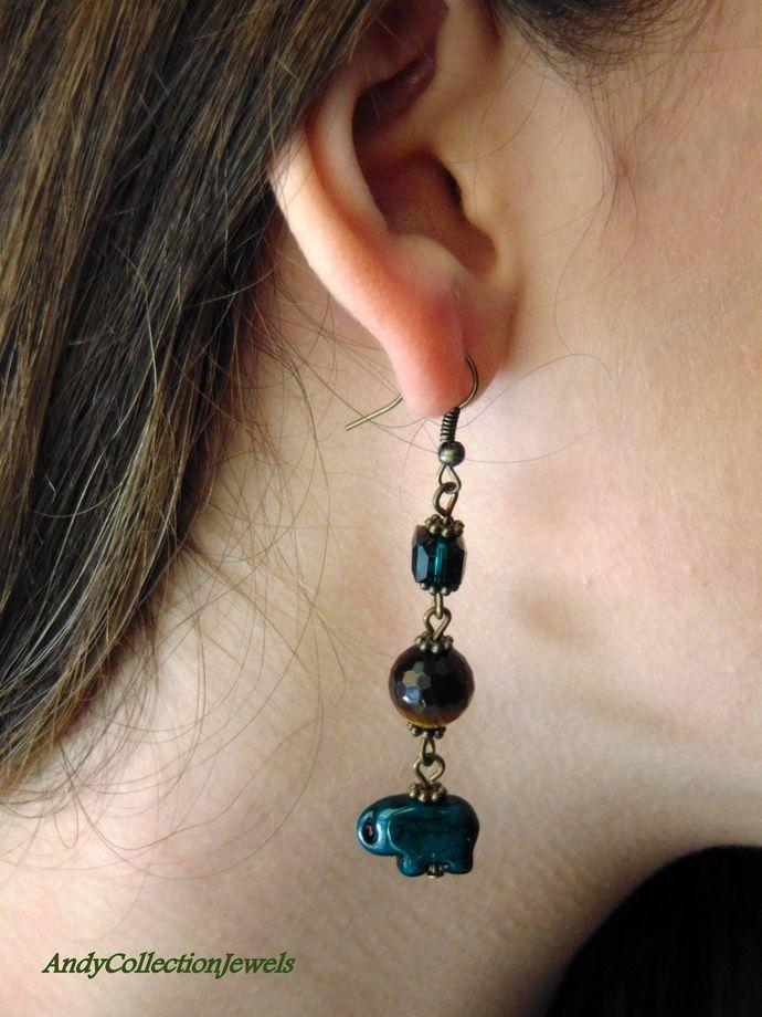 Green elephant dangle earrings Tiger eye dangle earrings Copper long earrings Crystal dangle earrings Autumn dangle earrings Birthday gift by AndyCollectionJewels, $18.00 EUR
