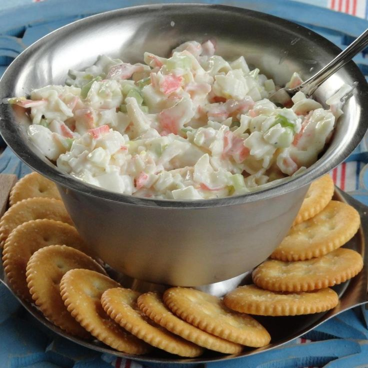 Every time my husband and I go to a buffet , I always have to have the crab salad. I did not have the use  of the internet, so I just started checking out the salad while eating it to figure out what may be used to make it. After a few tries I got pretty darn close and I alternate with other spices for different flavors. It is so good and I have taken it to some bring a dish dinners and always came back empty bowl in hand.