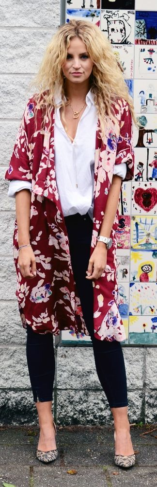 Burgundy Multi Floral Print Kimono
