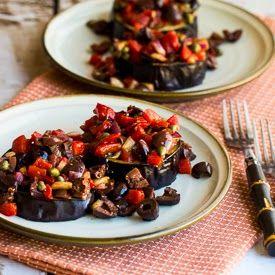 Roasted Eggplant Slices with Mediterranean Salsa #lowcarb #glutenfree
