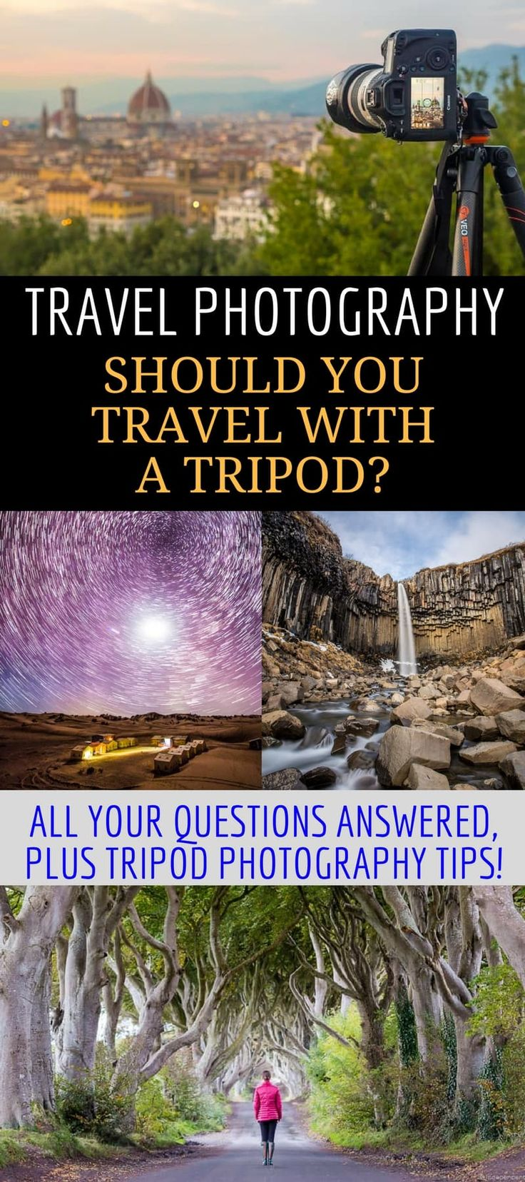 An Essential Guide to Travel Tripods. A travel tripod can help you take better vacation photos without a lot of effort. This travel photography article covers what a tripod does, how it can improve your photography, & what situations are best suited for a tripod. We also provide a list of recommended travel tripods to suit any budget & provide practical tips on traveling with a tripod. #traveltripod #tripod #travelphotography #photography #photographygear