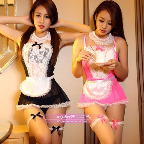 New-Pink-Black-Sexy-Sheer-Women-French-Maid-Fancy-dress-Halloween-costumes-M-L