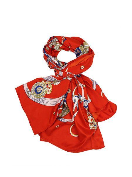 Shop Scarves - Orange Silk Casual Scarf online. Discover unique designers fashion at StyleWe.com.