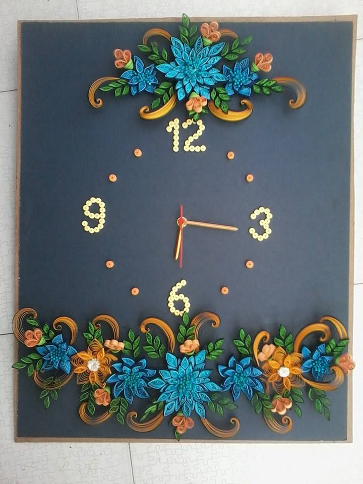 floral quilling on a clock by unknown quiller