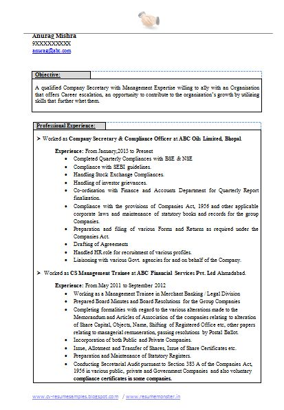Best Company Secretary Resume (Page 1). Examples Of Career ObjectivesResume  ...  Example Of Objective For Resume