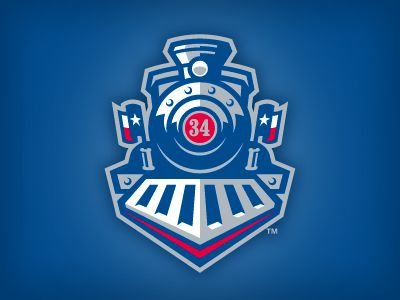 An infrequently-seen element of the Round Rock Express (Triple-A Minor League Baseball affiliate of the Texas Rangers) is this locomotive secondary logo. The 34 is a nod to the team's principle own...