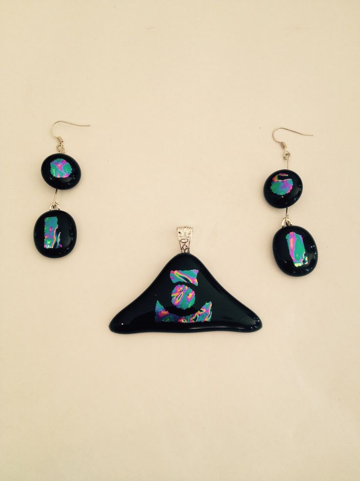Three pice dichroic glass jewellery set. Artwork title: All seeing eye. Inspired by the movie. Medium....