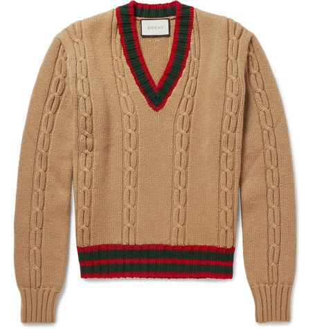 Slim-Fit Striped Cable-Knit Wool Sweater - Gucci