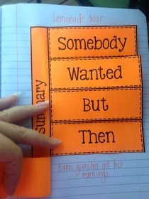 "Somebody Wanted But Then So ... I've always done ""So, Then"" as the order but love the printable for the kids' writers' notebooks"