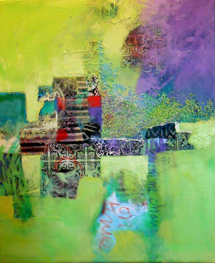Peinture abstraite acrylique et collage de Suzannepeint.