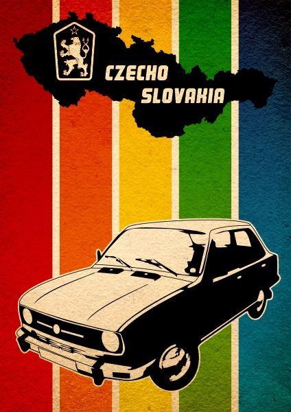 Similk's Czechoslovakia Car Retro Design, www.posterbar.cz #graphicDesign
