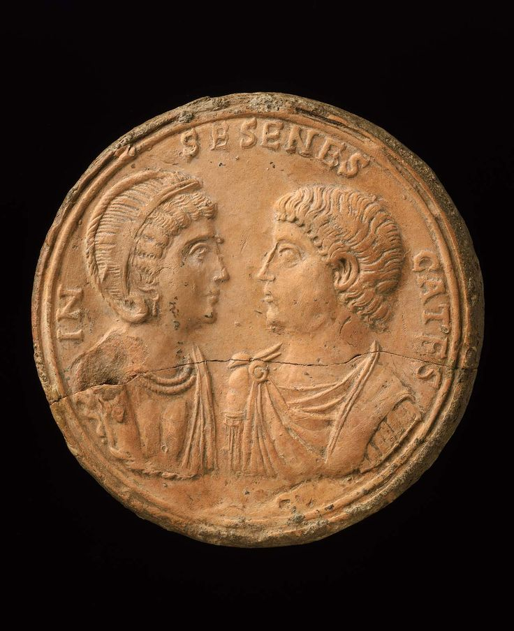 Terracotta roundel with busts of a married couple. Roman. Late Antique Period, c. 330-360 A.D. | The Museum of Fine Arts, Boston