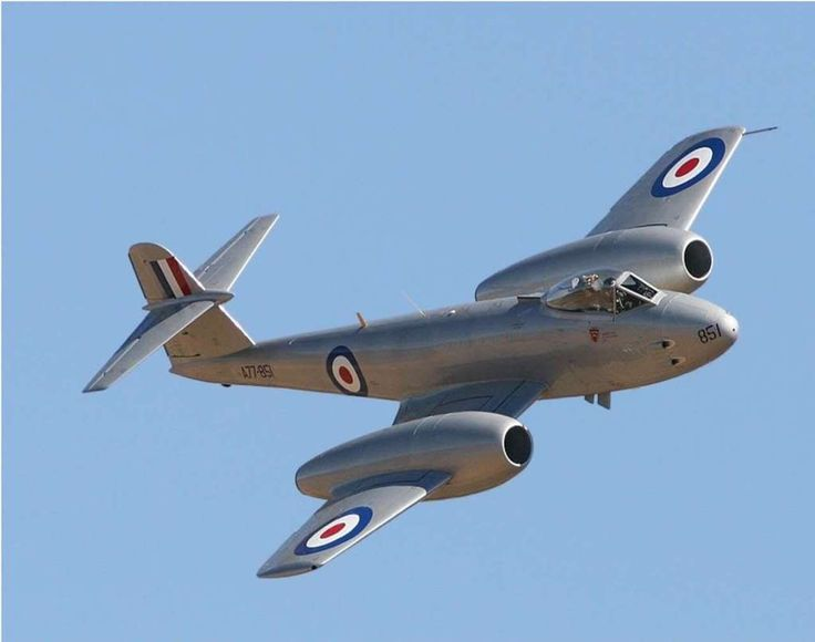 "Gloster Meteor.  Powered by Sir Frank Whittles turbojet engines these were the first Allied jets in World War II.  Built to go head to head with the German ME-262 the Meteor never got the chance.  Successful in chasing and shooting down the German V-1 ""Buzz Bomb""."