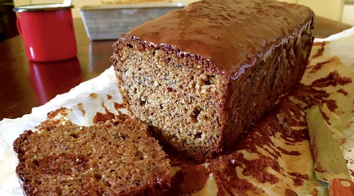 Banana bread with chocolate frosting