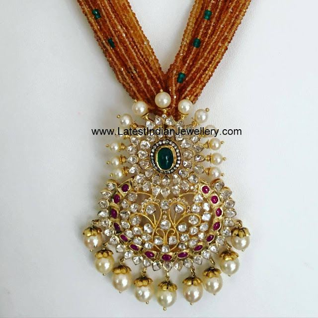 Coral Beads with Polki Pendant