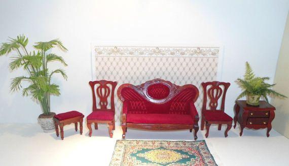 Set dei mobili in miniatura per il salone, mobili rossi per Casa delle bambole in Scala 1:12