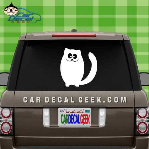 Cute goofy kitty cat car window decal