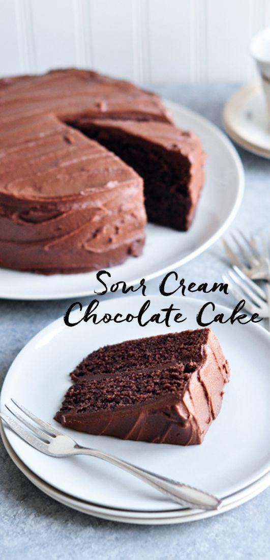 Sour-Cream Chocolate Cake. Adapted from Nigella Lawson | eatlittlebird.com