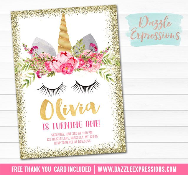 Printable Gold Glitter Unicorn Face Birthday Invitation | Pink and Blush Floral Invitation | Magical Girls 1st Birthday | Horse Party | Favor Tags | Cupcake Toppers | Food Labels | Signs | Banner | Party Package Decor