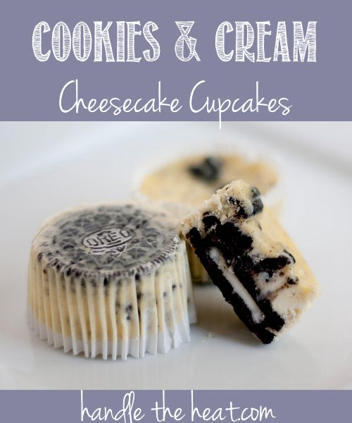 Cookies and Cream Cheesecake Cupcakes, 42 cream-filled sandwich cookies, such as Oreos, 30 left whole, and 12 coarsely chopped  2 pounds (4 8-oz packages) cream cheese, room temperature  1 cup sugar  1 tsp vanilla extract  4 large eggs, room temperature, lightly beaten  1 cup sour cream  Pinch of salt