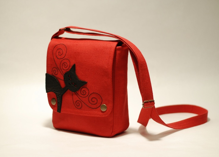 Small messenger bag, red - small cross body bag - linen bag - black cat applique - leather.