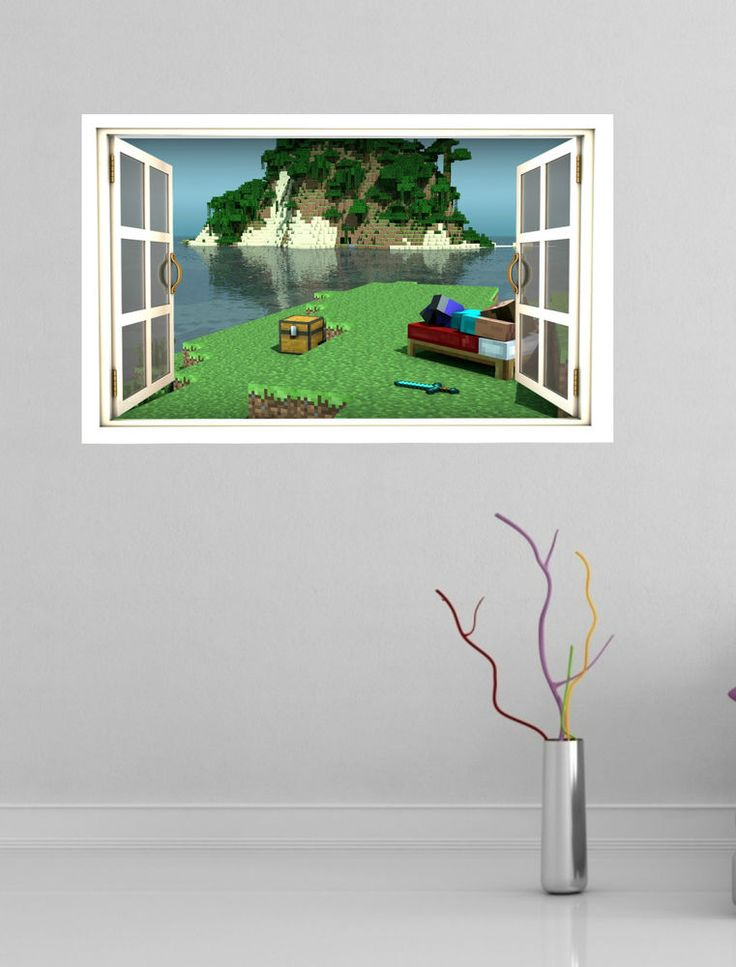 minecraft full colour magic window image wall sticker mural style1. Black Bedroom Furniture Sets. Home Design Ideas