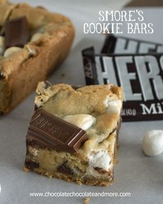 Smores Cookie Bars. Graham Cracker, Hershey's Chocolate and marshmallow wrapped up neatly in a bar....Tried to make these last night and cooked them for twice as long as the recipe said and they were still raw.  They tasted delicious, but were definitely raw.