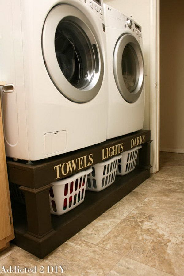DIY Laundry Pedestal. These DIY laundry pedestal are so functional in your laundry room.