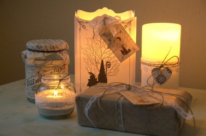 Brocante Sinterklaas. In de papieren lantaarn plaats je een glazen pot met kaars en klaar! Gezien op Jalien-webshop..