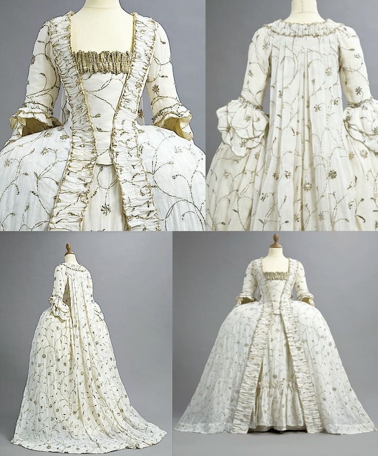 A FINE AND RARE EMBROIDERED COURT GOWN, 1770s. fine white Indian muslin with silver metal embroidery, the robe sack-back with train and scalloped cuffs to the sleeves, matching ruched robings, the cuffs and robings edged in delicate silver thread chain; the matching petticoat of silk to the upper back and tiered at the front bottom; the stomacher to a linen ground and trimmed with wide silver tape. | Christies