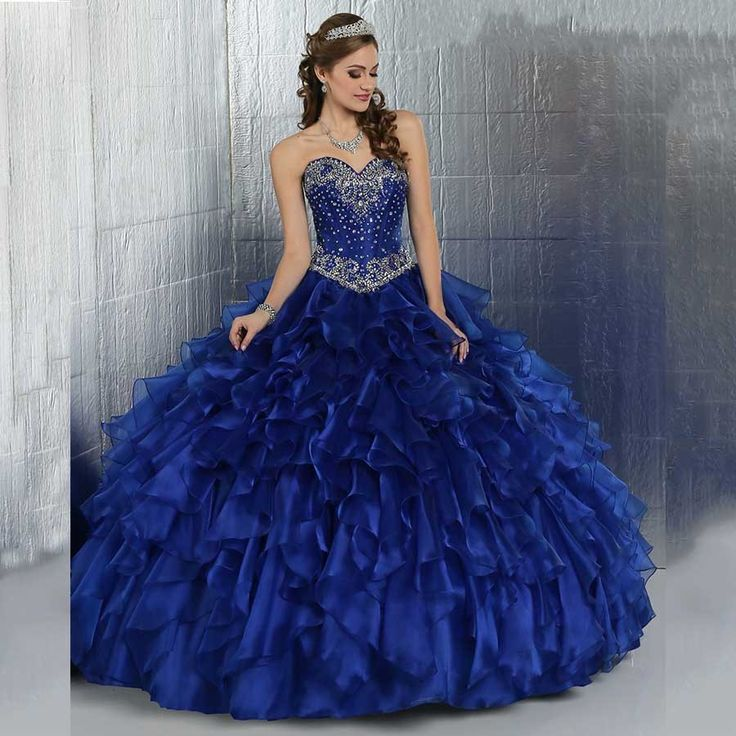 Sweet 16 Dresses Cheap Masquerade Ball Gowns Beaded Bodice Ruffles Sparkly Crystals Puffy Royal Blue Quinceanera Dresses 2016