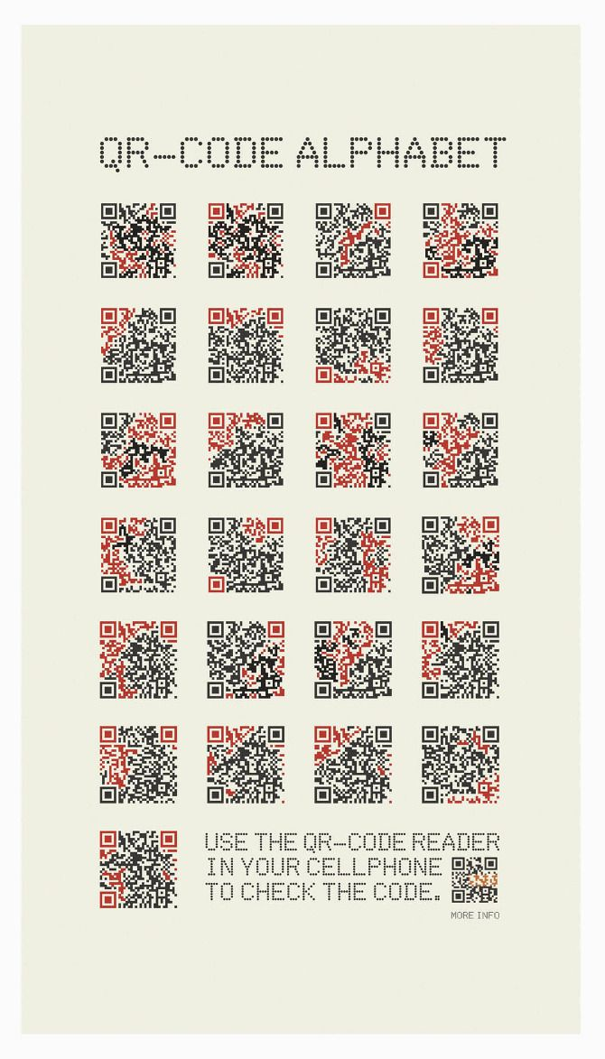 Qr-Code alphabet. This could be used to create a straight forward puzzle cache.