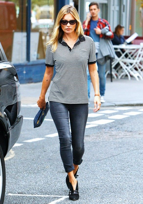 Kate Moss in a striped polo shirt