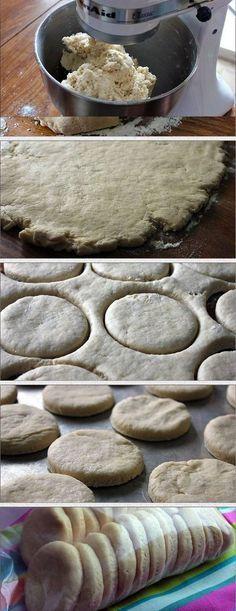 Homemade Freezer Biscuits: 4 cups flour 2 Tablespoons baking powder 1 teaspoon salt 1 cup butter 1 3/4 cup milk