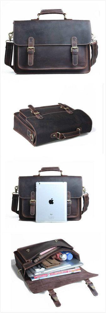 """vintage handmade antique crazy horse leather briefcase messenger 14"""" laptop bag"""