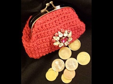 Monedero de ganchillo con boquilla cuadrada - Crochet purse (Tutorial) - YouTube