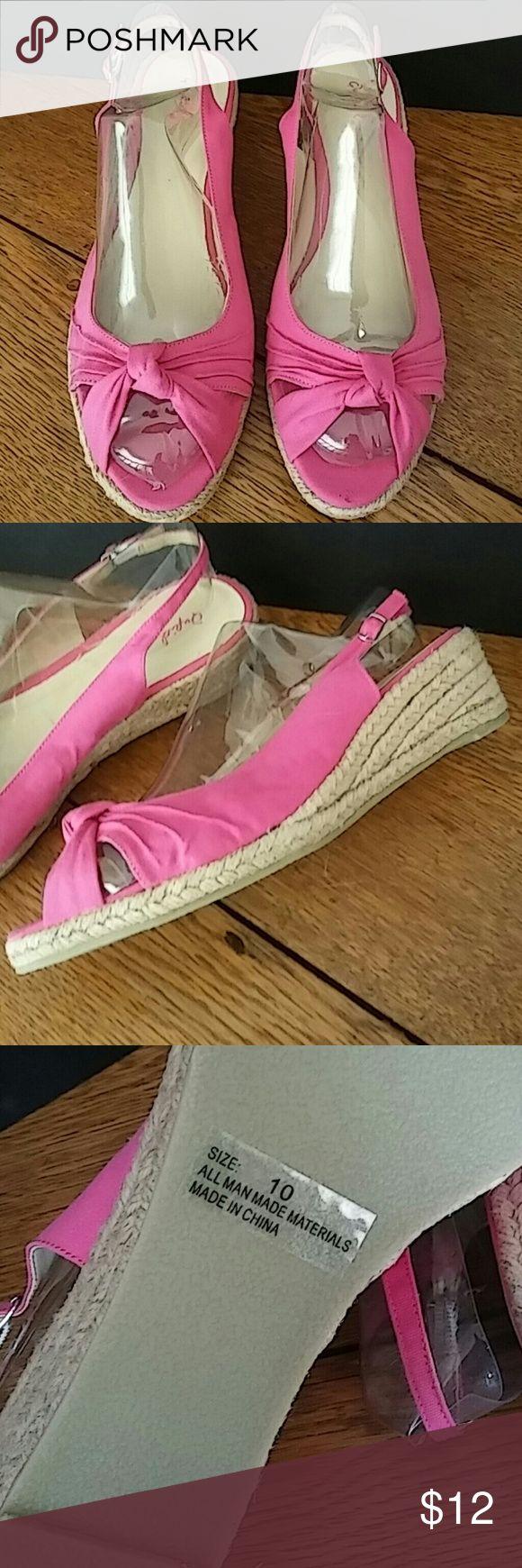 Hot pink sandals Sharp hot pink wedge sandal. Open toe. Never worn! Qupid Shoes Sandals