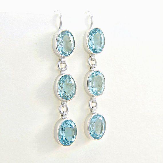 Orecchini topazio azzurro in argento 925 Orecchini di Freesize