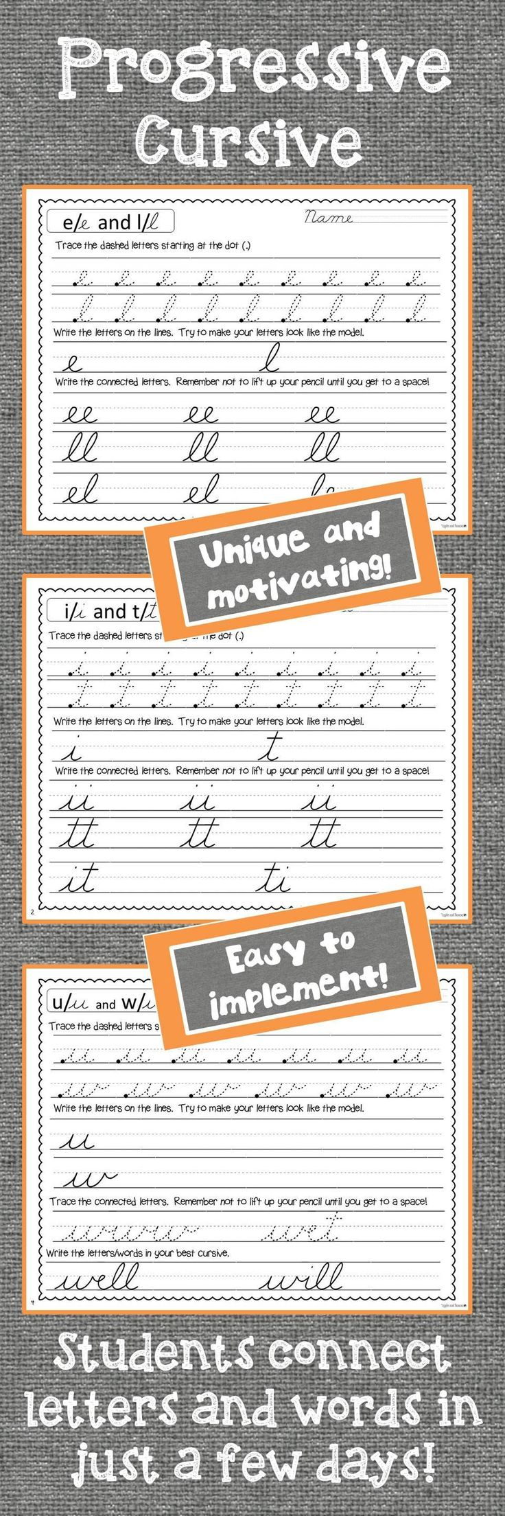 Unique handwriting system - students learn all cursive letters in a progressive order.  In just two lessons, students are connecting letters and writing words. Students love this cursive program!