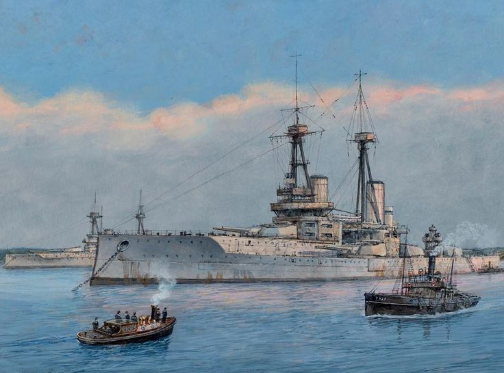 HMS Vanguard, a St Vincent Class Battleship.Built by Vickers Armstrong at Barrow-in-Furness & commissioned on 01/03/10. She was to survive Jutland only to be tragically lost at Scapa Flow with only 2 of her crew surviving on 09/07/17 after an internal explosion blew her apart. Although the explosion was caused by the ignition of cordite in one of her main magazines the enquiry was unable to discover what had caused the ignition.