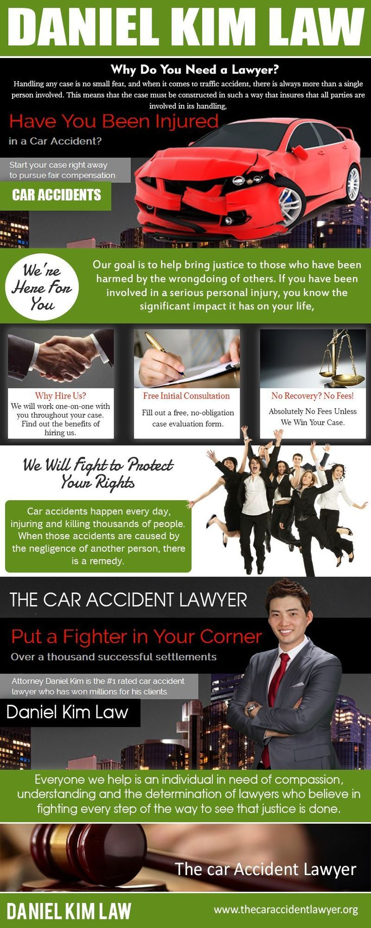 Car accident lawyers are the ones who have the skills, ability and the sufficient knowledge in protecting the interests and the rights of the victims. Sometimes insurance companies only offer limited and sometimes no assistance at all and in some cases they even blame the errors on the victims. Hiring a well experienced Daniel Kim Law car accident lawyer can surely help the accident victims in claiming a just settlement. After the victims hired their professional lawyers, they can just relax…