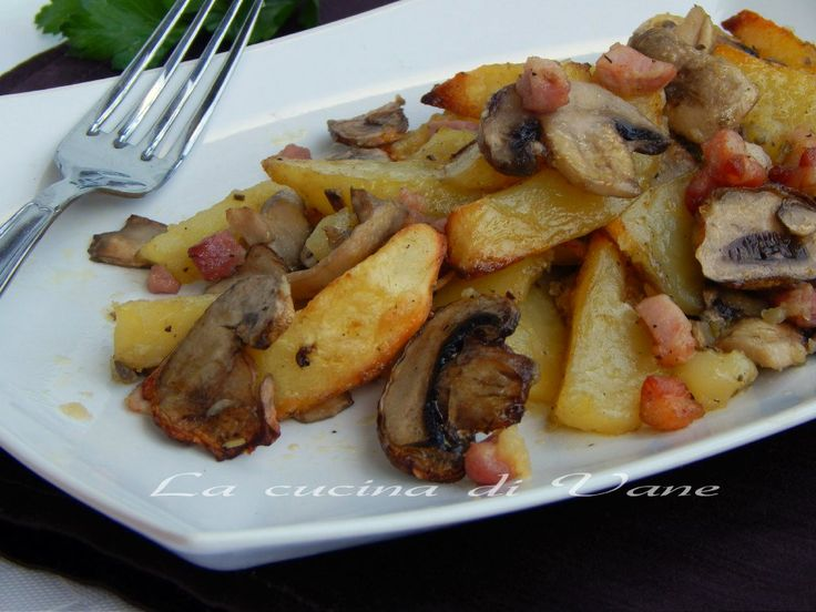 Patate funghi e pancetta al forno contorno goloso