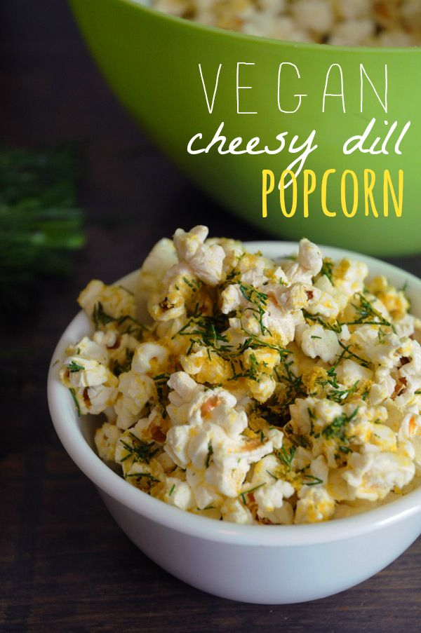 Vegan Cheesy Dill Popcorn - Cheesy, with a burst of dill flavour. This popcorn is one of my favourite snacks! And it's so easy to make at home!