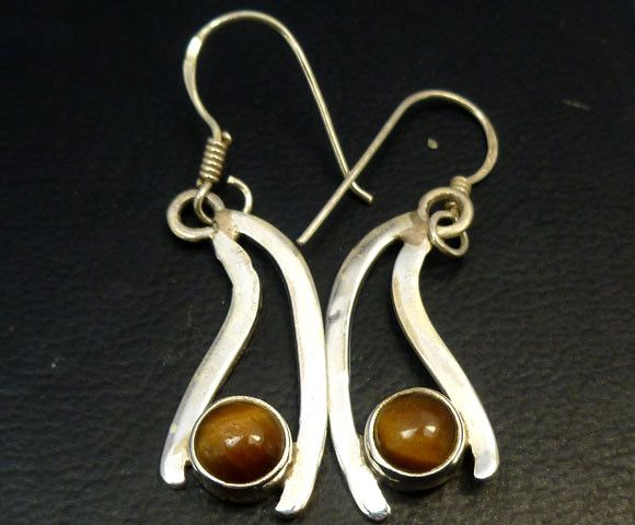 AUSSIE TIGER EYE  SILVER EARRINGS         RT 1179  NATURAL AUSTRALIAN TIGER EYE GEMSTONE EARRINGS GEMSTONE  , FROM GEMROCKAUCTIONS.COM