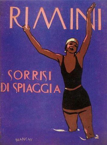 Rimini 1930  Rimini sorrisi di spiaggia. Illustrazione di Alberto Bianchi per la copertina dell'omonima rivista.